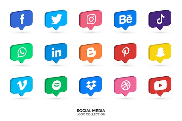 Raccolta di loghi di social media. 3d icone vettoriali. illustrazione vettoriale. Vettore Premium