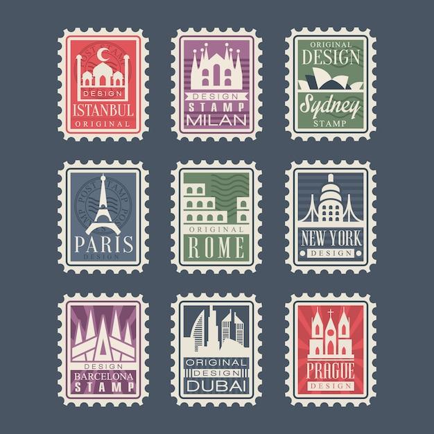 Collezione di francobolli di diversi paesi con monumenti architettonici, illustrazioni, francobolli di città con simboli Vettore Premium