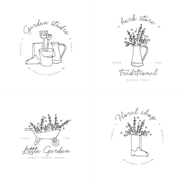 Simbolo di raccolta del giardinaggio. Vettore Premium