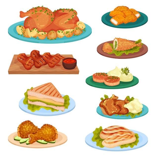 Raccolta di gustosi piatti di pollame, carne di pollo fritto, cotolette, sandwich servito su piatti illustrazione su uno sfondo bianco Vettore Premium