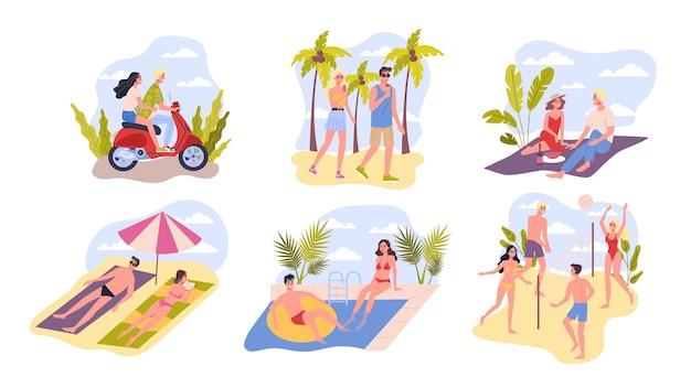 Raccolta di carta di viaggio e vacanza. le persone si rilassano sulla spiaggia. set di attività estive. sport da spiaggia, nuoto, bagni di sole. illustrazione Vettore Premium