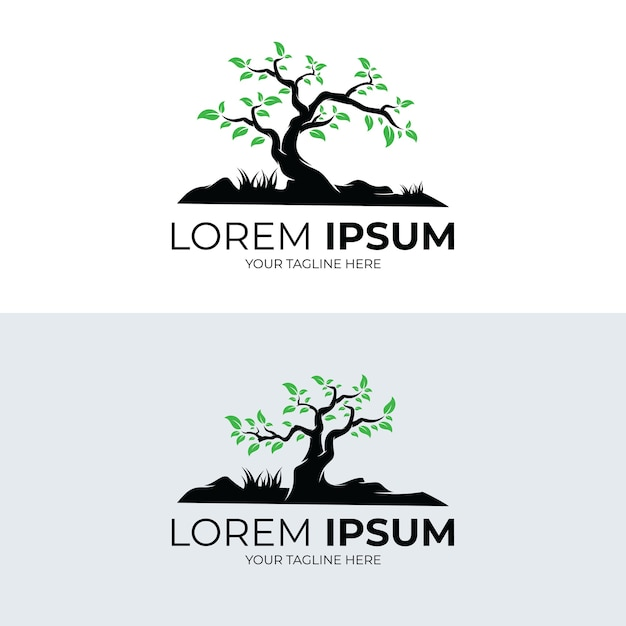 Raccolta di disegno del modello di logo di albero Vettore Premium