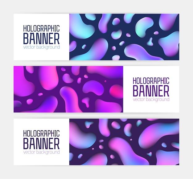 Raccolta di modelli di banner orizzontali alla moda con fantastica trama olografica, bolle colorate al neon Vettore Premium