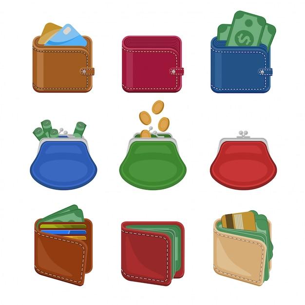 Raccolta di varie borse e portafogli aperti e chiusi con denaro, contanti, monete d'oro, carte di credito. Vettore Premium