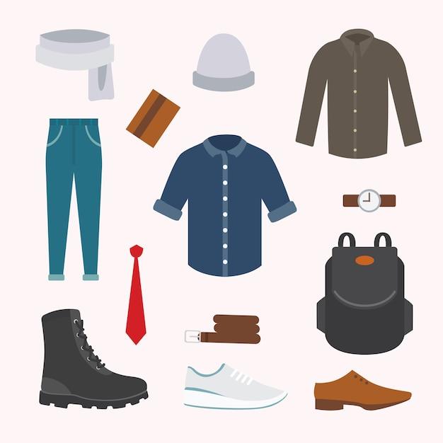 Raccolta di vari indumenti e scarpe per la stagione fredda. look autunnale da uomo. abbigliamento con stile. Vettore Premium