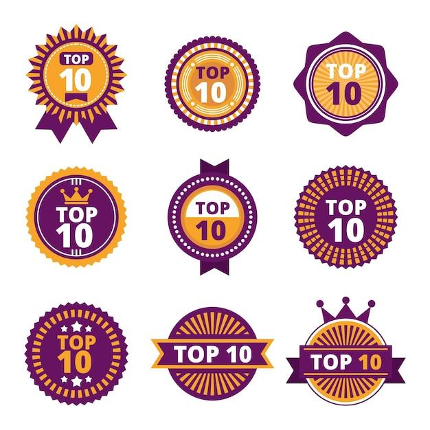 Collezione di badge top 10 vintage Vettore Premium