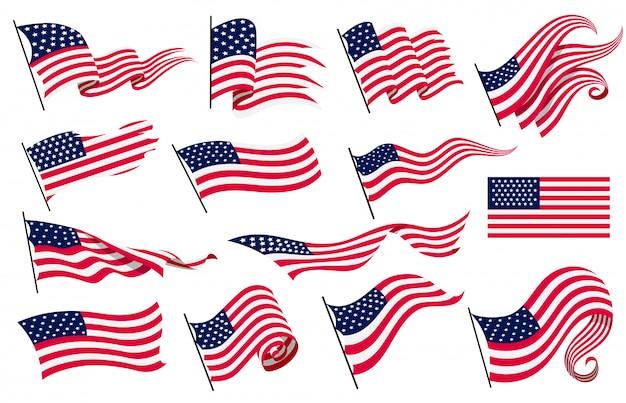 Collezione sventolando bandiere degli stati uniti d'america. illustrazione delle bandiere americane ondulate. simbolo nazionale, bandiere americane su fondo bianco - illustrazione Vettore Premium