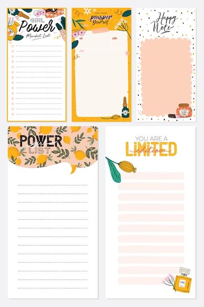Raccolta di planner settimanale o giornaliero, carta per appunti, lista delle cose da fare, modelli di adesivi decorati Vettore Premium