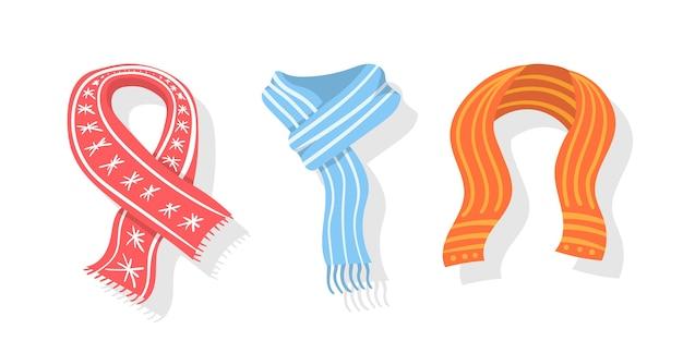 Collezione di sciarpa invernale o autunnale Vettore Premium