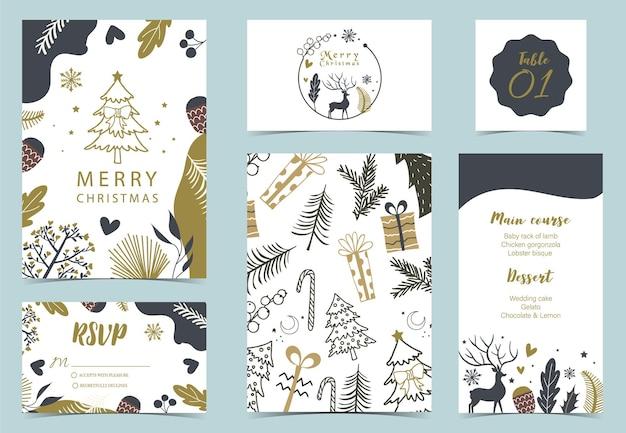 Raccolta di sfondo invernale impostato con albero, renna, fiore, foglie. Vettore Premium