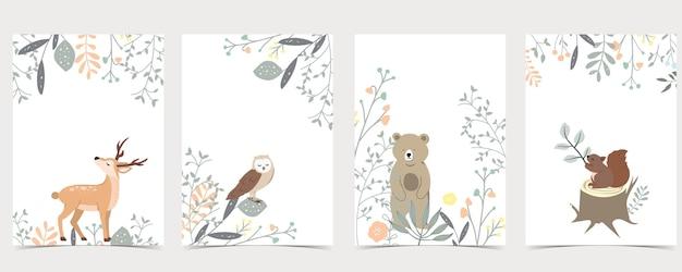 Collezione di boschi con cervi, scoiattoli, gufi, orsi. Vettore Premium