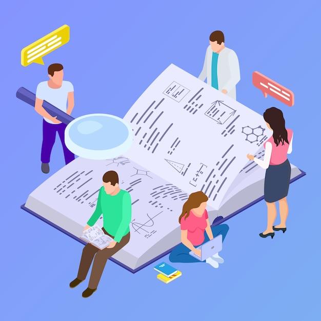 Educazione collettiva, illustrazione isometrica di ricerca di gruppo Vettore Premium