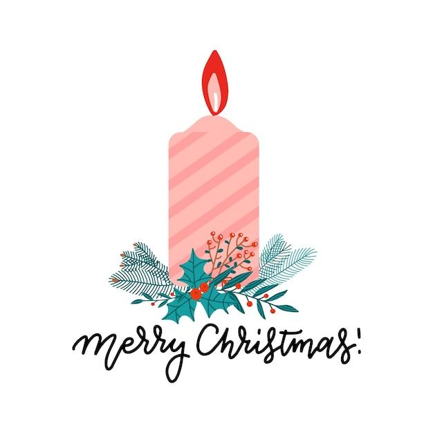 Coloor candela natalizia fiammeggiante con rami di albero di natale, bacche di agrifoglio e bacche. Vettore Premium