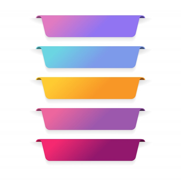 Set di layout etichetta banner a colori. Vettore Premium