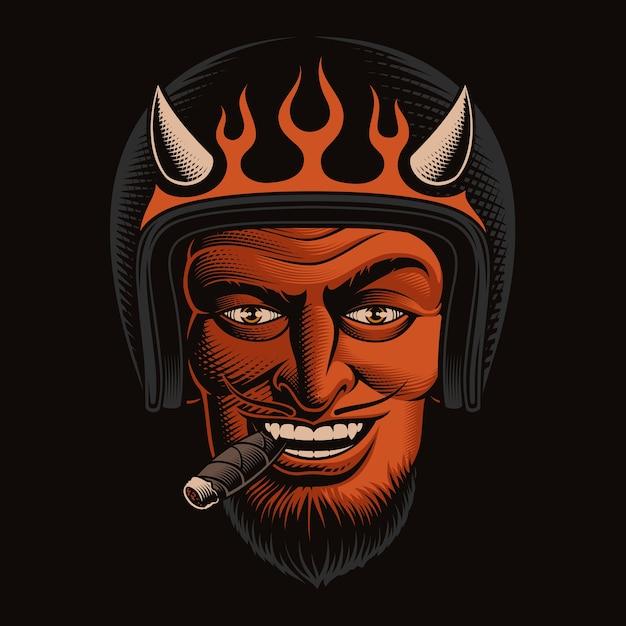 Illustrazione a colori di un motociclista diavolo in casco su sfondo scuro. ideale per maglietta Vettore Premium