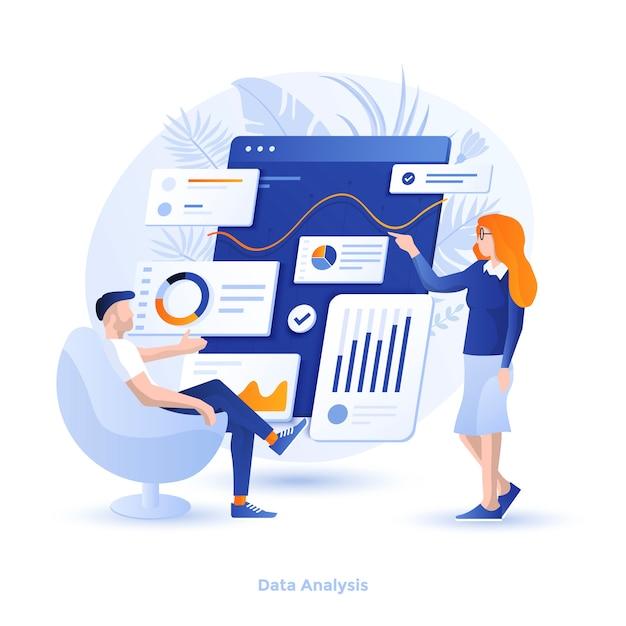 Colore illustrazione moderna - analisi dei dati Vettore Premium