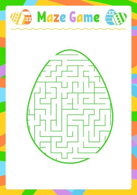 Labirinto ovale di colore. fogli di lavoro per bambini. pagina delle attività. puzzle di gioco per bambini. uovo, vacanze, pasqua. Vettore Premium