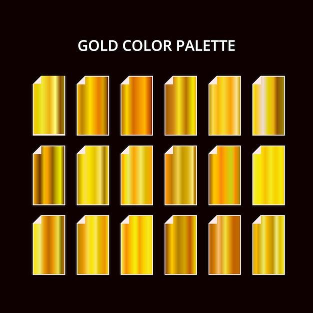 Color_palette_28 tavolozza di colori in metallo oro giallo. struttura in acciaio Vettore Premium