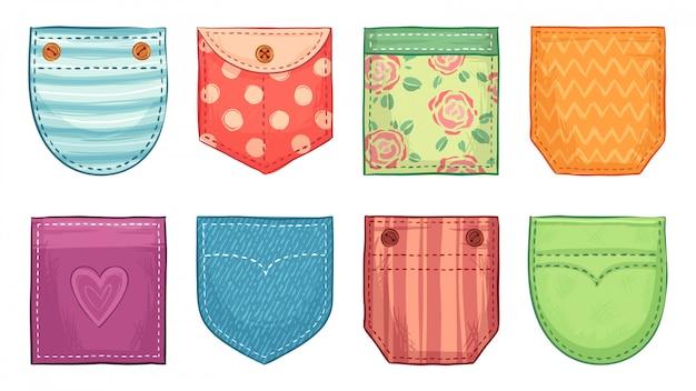 Tasche a toppa colorate. tasche comfort con cucitura, bottoni tasche applicate in denim e comodi set di accessori per l'abbigliamento Vettore Premium
