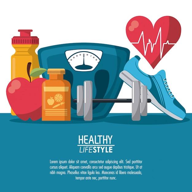 Gli elementi dei poster a colori hanno uno stile di vita sano con il ritmo del battito cardiaco Vettore Premium