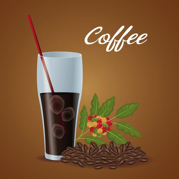 Tazza di vetro di poster di colore di caffè e fagioli ghiacciati Vettore Premium