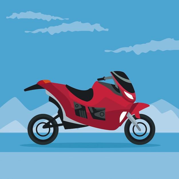 Paesaggio di neve di colore poster montagna con moto moderna Vettore Premium
