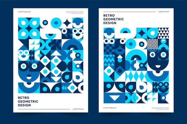Colore del modello di poster dell'anno 2020 design geometrico retrò premium Vettore Premium