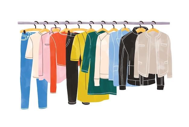 Vestiti colorati o capi di abbigliamento appesi a grucce su porta abiti o rotaia isolati su sfondo bianco. organizzazione o conservazione dell'abbigliamento. spazio interno di armadio o guardaroba. illustrazione disegnata a mano Vettore Premium