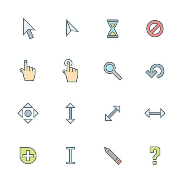 Set di icone colorate vari cursori contorno Vettore Premium