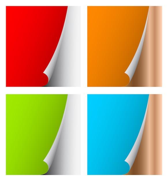 Modello arricciato carta colorata pagina Vettore Premium