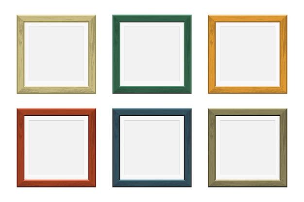 Cornice in legno per foto colorate Vettore Premium