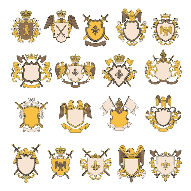 Set di immagini colorate di elementi araldici. scudo con aquila e leone, illustrazione maestosa araldica reale Vettore Premium