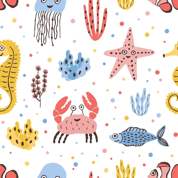 Modello senza cuciture colorato con animali di mare e oceano felici su bianco Vettore Premium