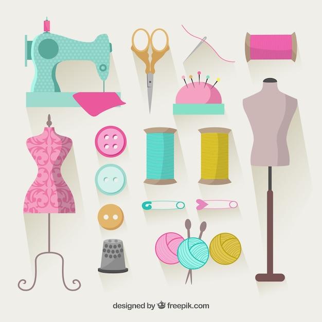 Elementi colorati per cucire Vettore Premium