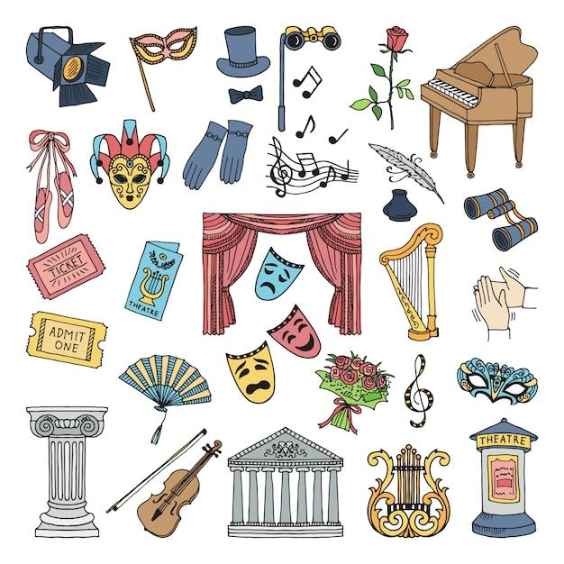 Simboli colorati del teatro le icone di vettore di opera e di balletto hanno fissato l'isolato Vettore Premium