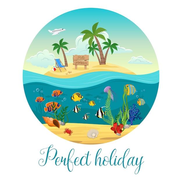 Isola colorata del mondo sottomarino con grande descrizione rotonda e perfetta per le vacanze Vettore Premium