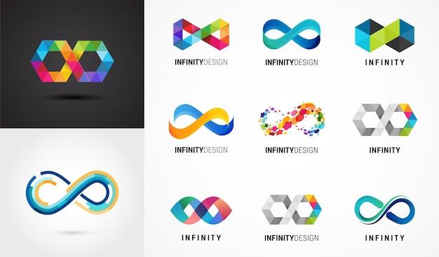 Infinito astratto colorato, simboli infiniti e collezione di icone Vettore Premium