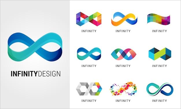 Set di simboli infinito astratti colorati Vettore Premium