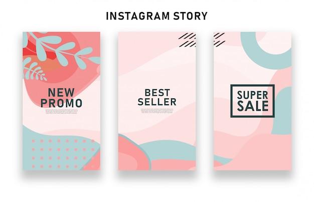 Storie di instagram di vendita astratte colorate Vettore Premium