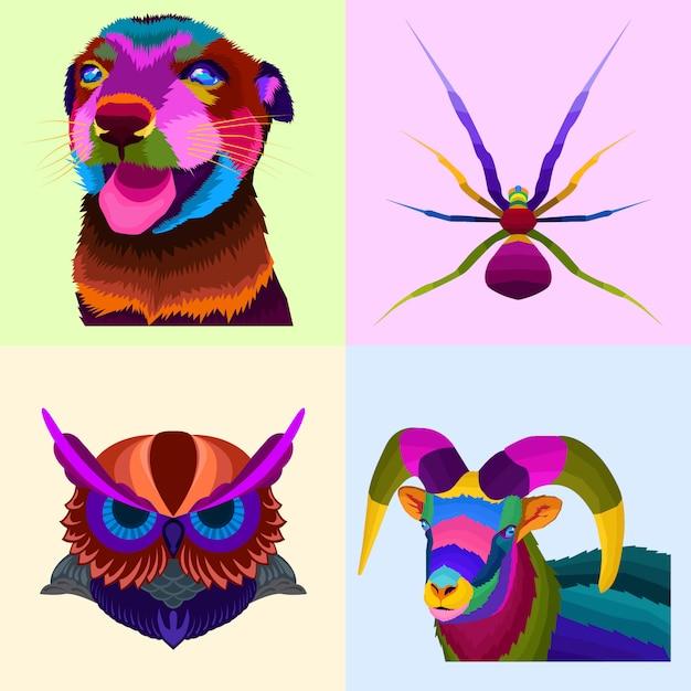 Animale colorato set pop art Vettore Premium