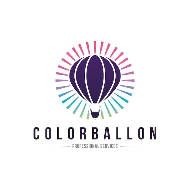 Logo creativo ballon colorato Vettore Premium