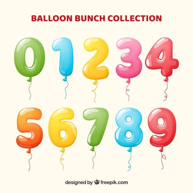 Raccolta di numeri di palloncini colorati Vettore Premium