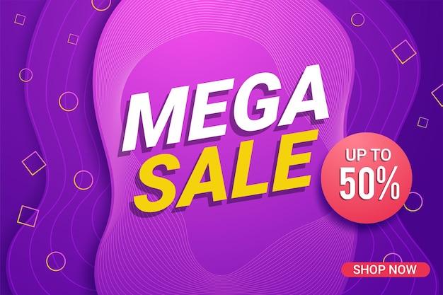 Sfondo di vendita geometrica banner colorato Vettore Premium
