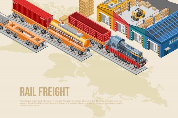 Striscione colorato per trasporto ferroviario Vettore Premium