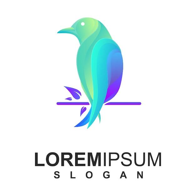 Logo colorato uccello Vettore Premium