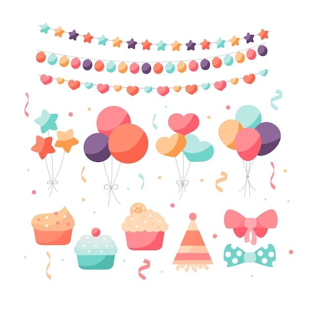 Decorazioni colorate per il compleanno Vettore Premium
