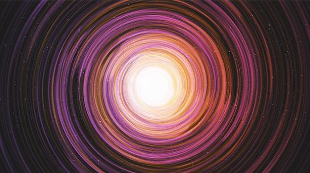 Buco nero colorato su sfondo galaxy con spirale via lattea, concetto di universo Vettore Premium