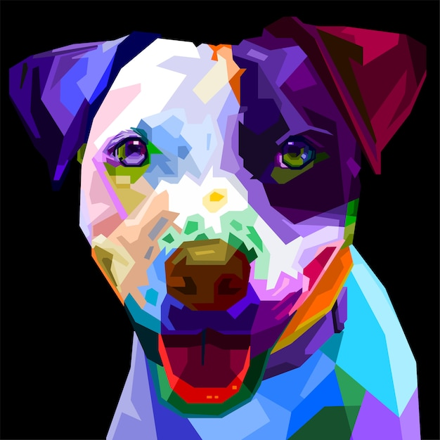 Boston terrier colorato cane in stile pop art. illustrazione. Vettore Premium