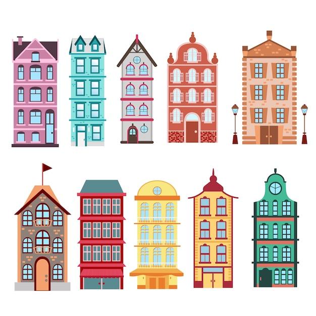 Case colorate e luminose di amsterdam, città olandesi impostate su sfondo bianco illustrazione in. Vettore Premium