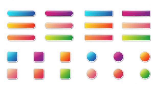 Set di pulsanti lucido brillante colorato. icone isolate. Vettore Premium
